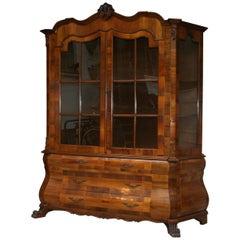Display Cabinet in Walnut Veneer, Dutch Baroque Style, 20th Century
