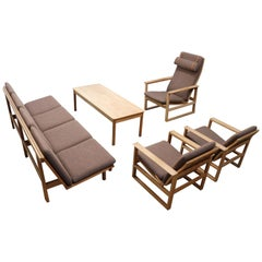 Large Danish Living Room Set by Borge Mogensen for Fredericia 1950s Oak Brown