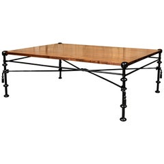 Vintage Coffee Table with Iron Base and Custom Walnut Top