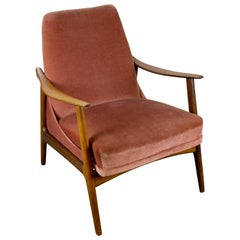 Teak Danish Modern Armchair with Velour Upholstery