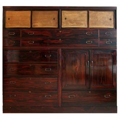 Large Japanese Rosewood Taisho 3-Section Tansu Clothing Storage Chest