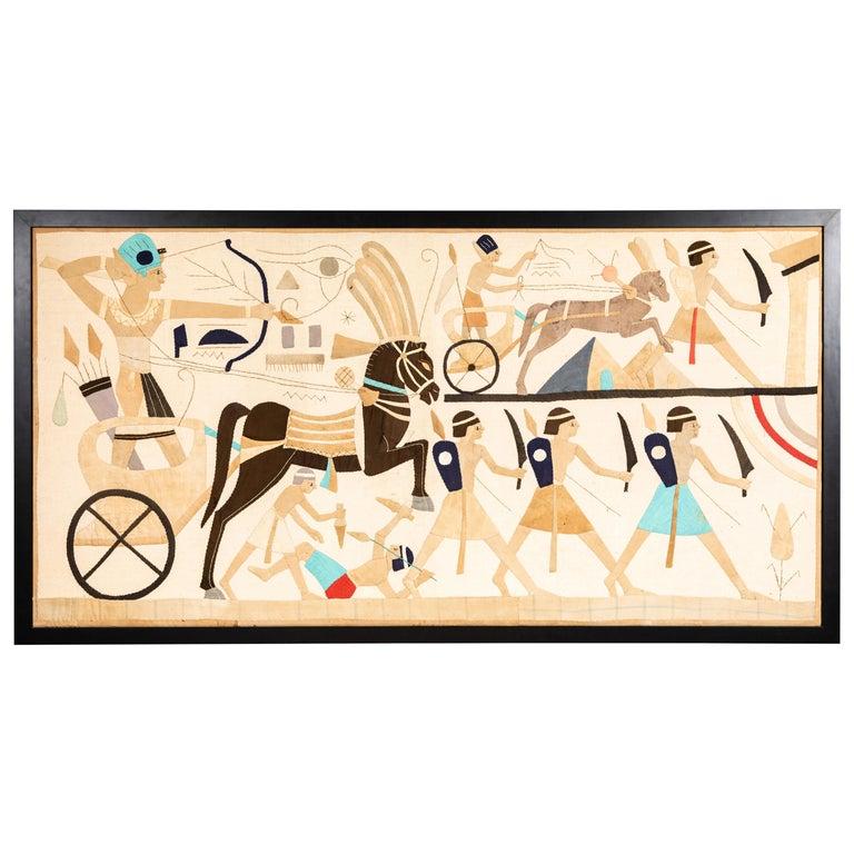 Egyptian Revival Textile Panel, circa 1920s For Sale