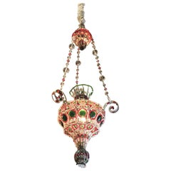 Late 18th Century Venetian Library Chandelier Pendant Colorful Hanging Lamp