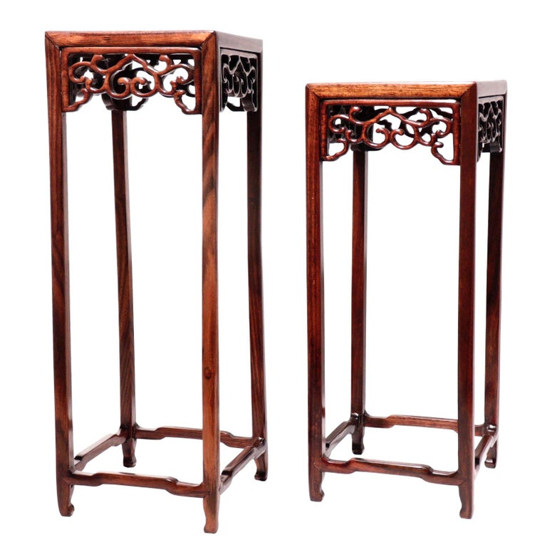 Pair of Antique Chinese Rosewood and Burl Wood Curio Display Stands For Sale