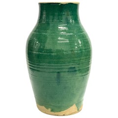 Large Handmade Rustic/Farmhouse Blue-Green Glazed Terracotta Clay Pots Jar