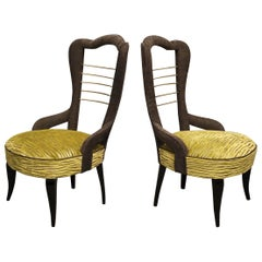 Pair of Midcentury Green Velvet and Brass Italian Chairs, 1950