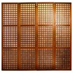 Set of Vintage Philippines Hardwood and Capiz Shell Window and Door Panels