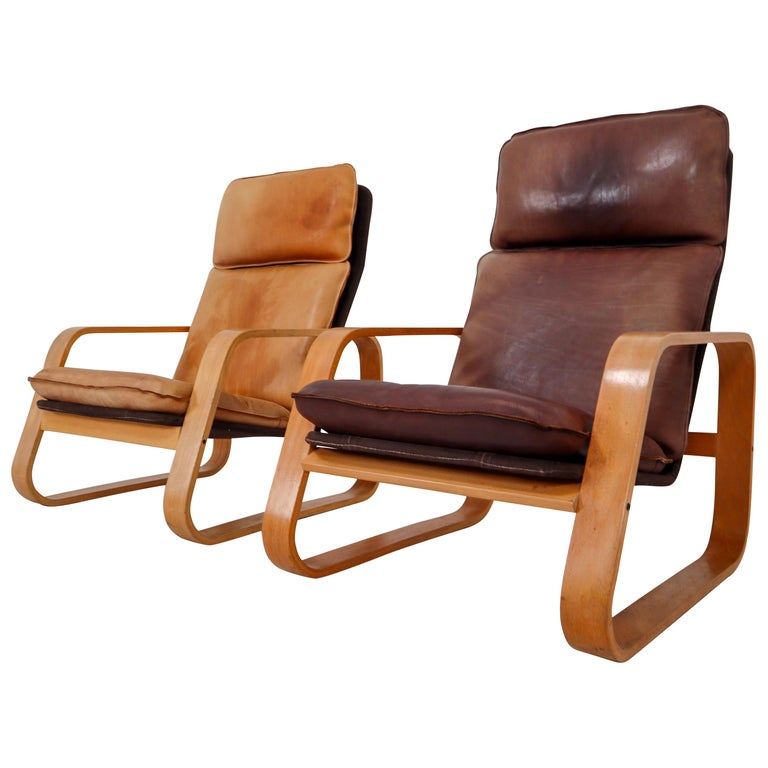 Set of Two Lounge Chairs, Patinated Leather and Bentwood, France, 1970s For Sale