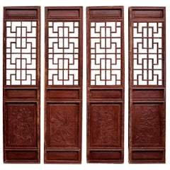 Chinese Antique Screens, Doors, Set of 4, Blooms and Longevity
