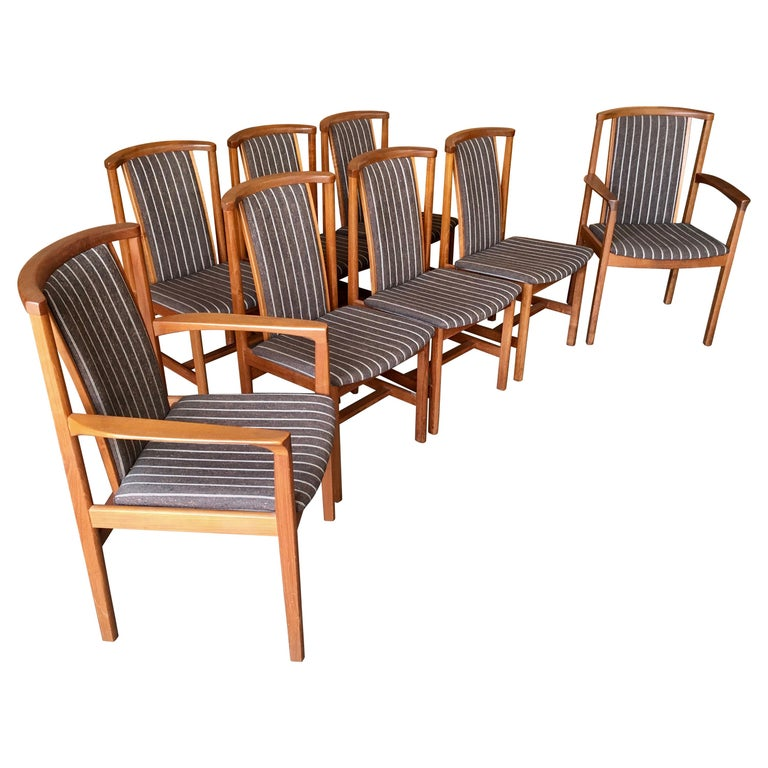 Mid Century Teak Dining Chairs Set of Eight For Sale