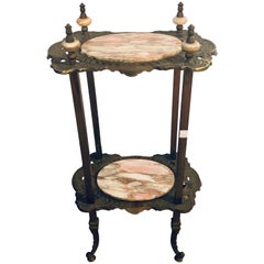 Antique Bronze Two-Tier Onyx Pedestal or End Table