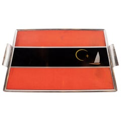 Art Deco Machine Age Aluminum and Inlaid Micarta Bar Tray by George Switzer