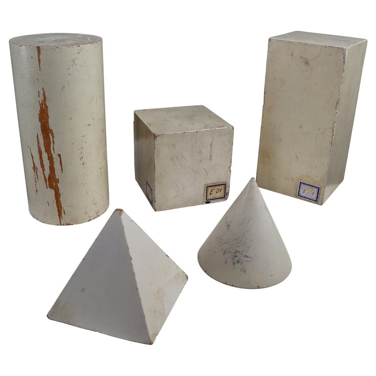 Set of Painted White Patinated Wooden Geometric Models/Sculptures, Vienna 1950s For Sale