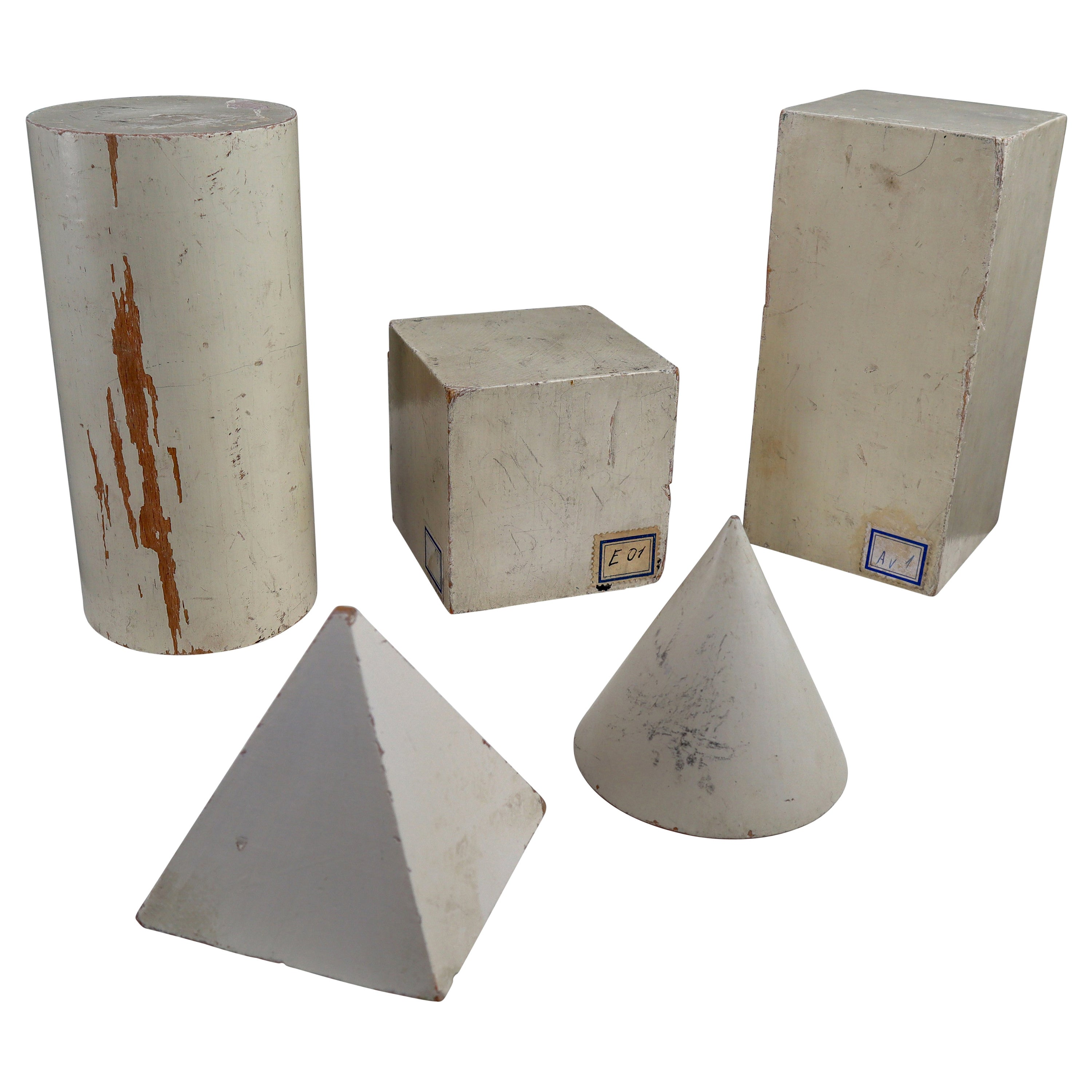 Set of Painted White Patinated Wooden Geometric Models/Sculptures, Vienna 1950s