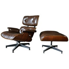 Brown Leather and Rosewood Eames Lounge Chair and Ottoman