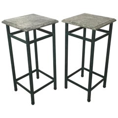 Pair of Marble-Topped Drinks Tables