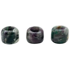 Carved and Polished Natural Fluorite Candleholders, Set of 3