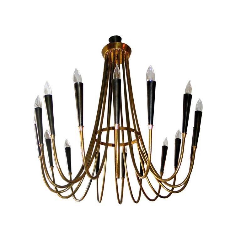 Elegant Italian Mid-Century Modern chandelier / pendant / fixture with 16 arms elegantly set in a circular pattern in the spirit of a neoclassical sunburst.  Composition: Elegant solid brass frame formed in a circular pattern with 16 black
