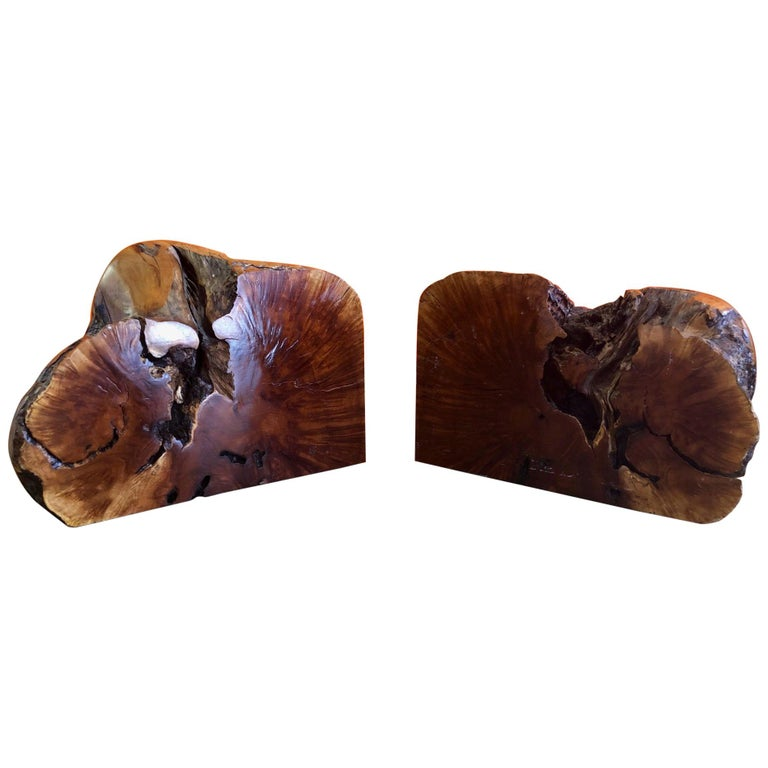 Massive Pair of Vintage Burl Wood Bookends For Sale