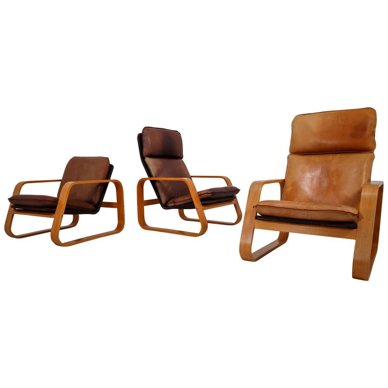 Set of Three Lounge Chairs, Patinated Leather and Bentwood, France, 1970s For Sale