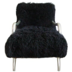 Black Shearling-Covered Contemporary Lounge Chair