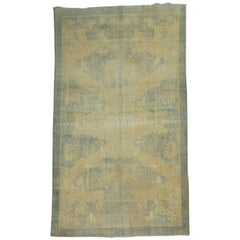 Shabby Chic Blue Pictorial Turkish Rug