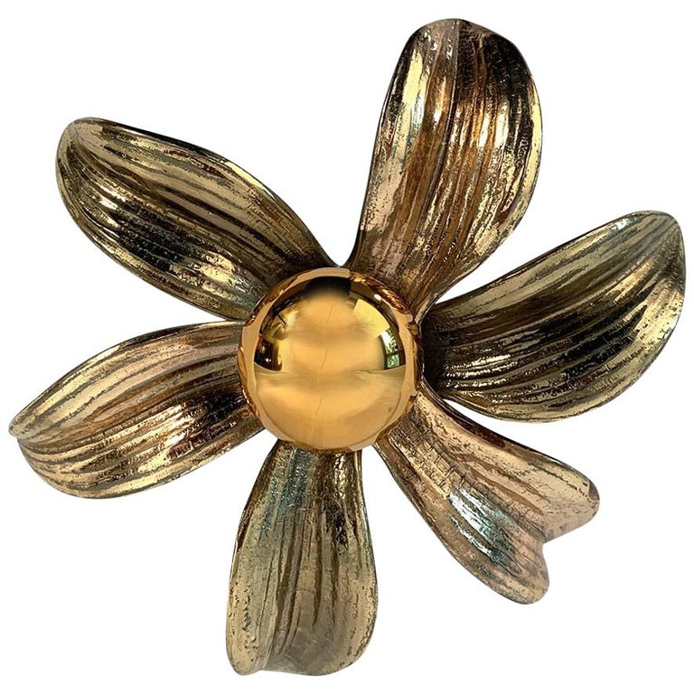 Flower Wall Sconce by Willy Daro, 1970s For Sale