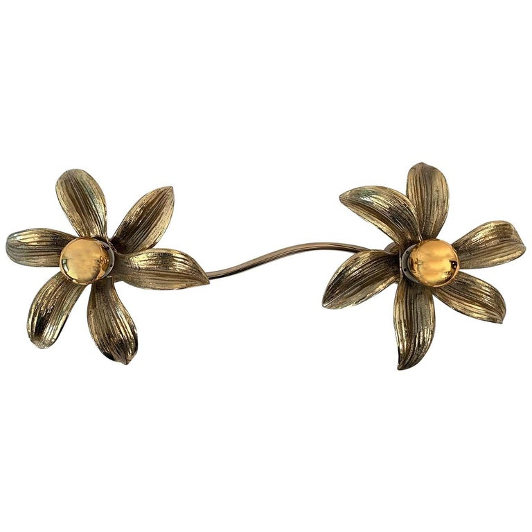 2 Flowers Wall Sconce by Willy Daro, 1970s For Sale