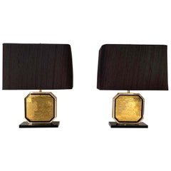 """Pair of Table Lamps in 24-Karat """"Maho"""" by Georges Mathias, 1970s"""