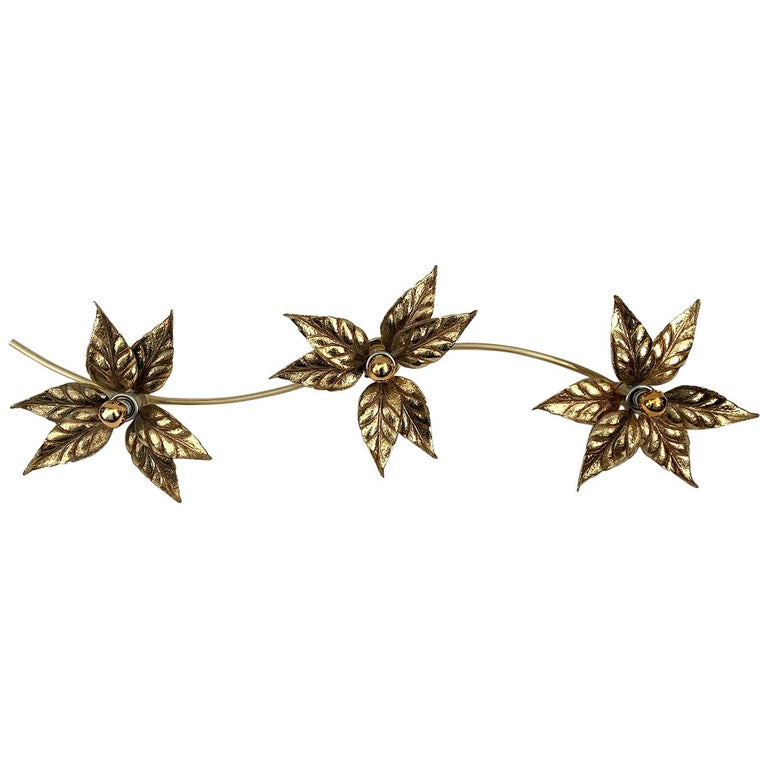 3 Flowers Wall Sconce by Willy Daro, 1970s For Sale