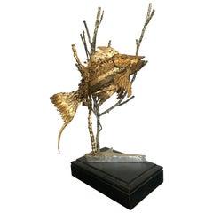 Brutalist Fish Sculpture on a Black Wooden Plinth