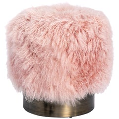 Contemporary Pink Long Curly Haired Mongolian Lamb Fur Pouf