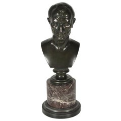 Early 1900s French Bronze and Marble Bust