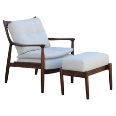 Modern Walnut Lounge Chair and Ottoman in Neutral Fabric by Norm Stoeker