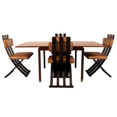 Rare and Outstanding Harvey Probber Games Table and Scissor Chairs