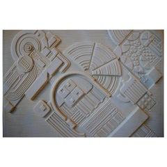 Abstract Architectural Limited Bisque Wall Plaque by Eduardo Paolozzi, 1978