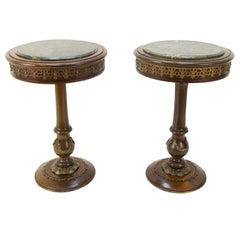 Pair of French Wooden Marble-Top Pedestals