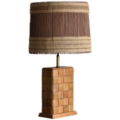 Paul Laszlo & Maria Kipp, Modernist Table Lamp, Oak, Brass, Reed, 1950s