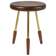 Oiled Walnut Rounded Edge Milking Stool with Brass Legs by Casey McCafferty