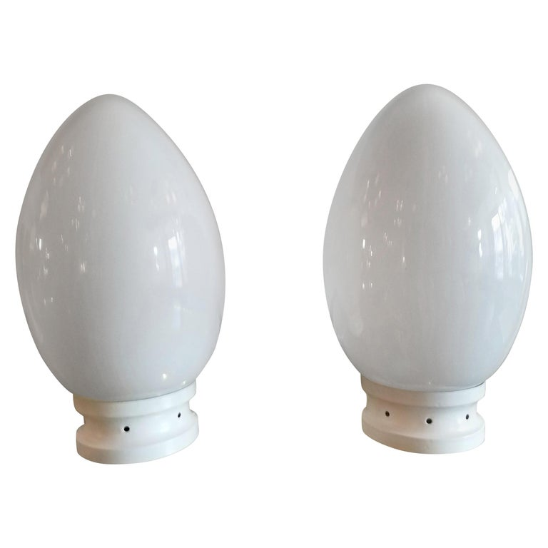 Pair of Egg Table Lamps by Fontana Arte For Sale
