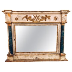 Paint Decorated 18th-19th Century Wall or over the Mantle Mirror