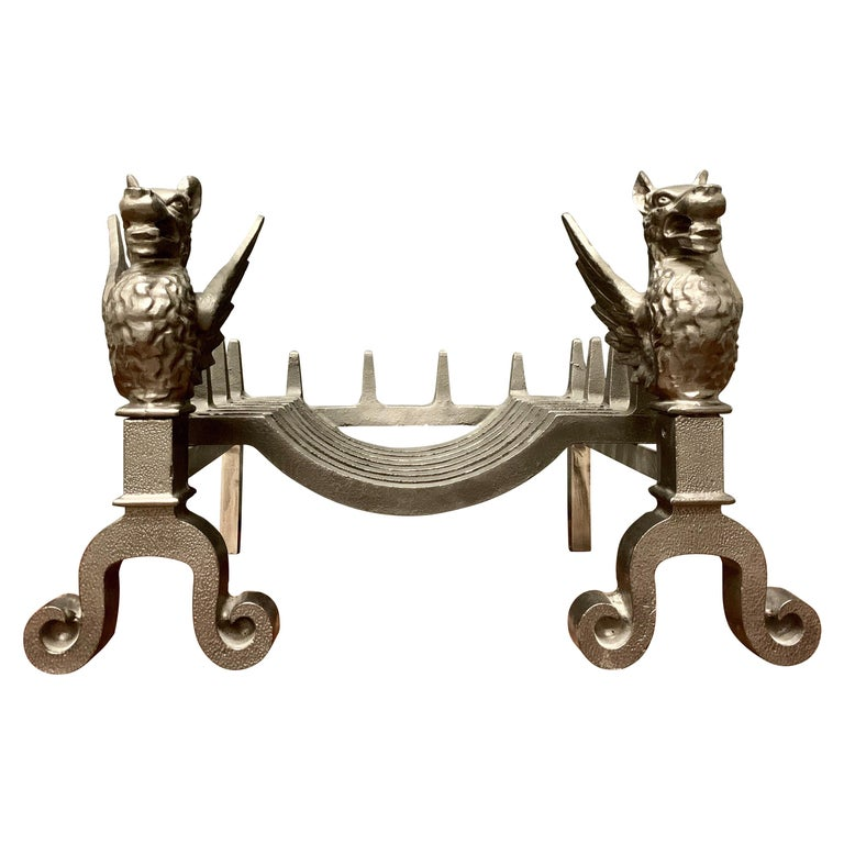 19th Century Victorian Cast Iron Griffin Fire Grate For Sale