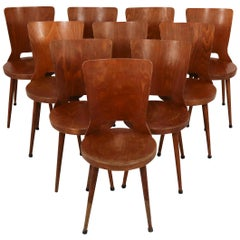 Set of Ten Chairs, Midcentury French Design by Baumann, 1960s