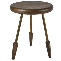 Oxidized White Oak Rounded Edge, Brass Legs Milking Stool by Casey McCafferty