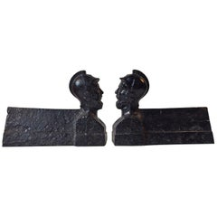 Pair of Antique French Cast Iron Chenets or Andirons, Napoleon III