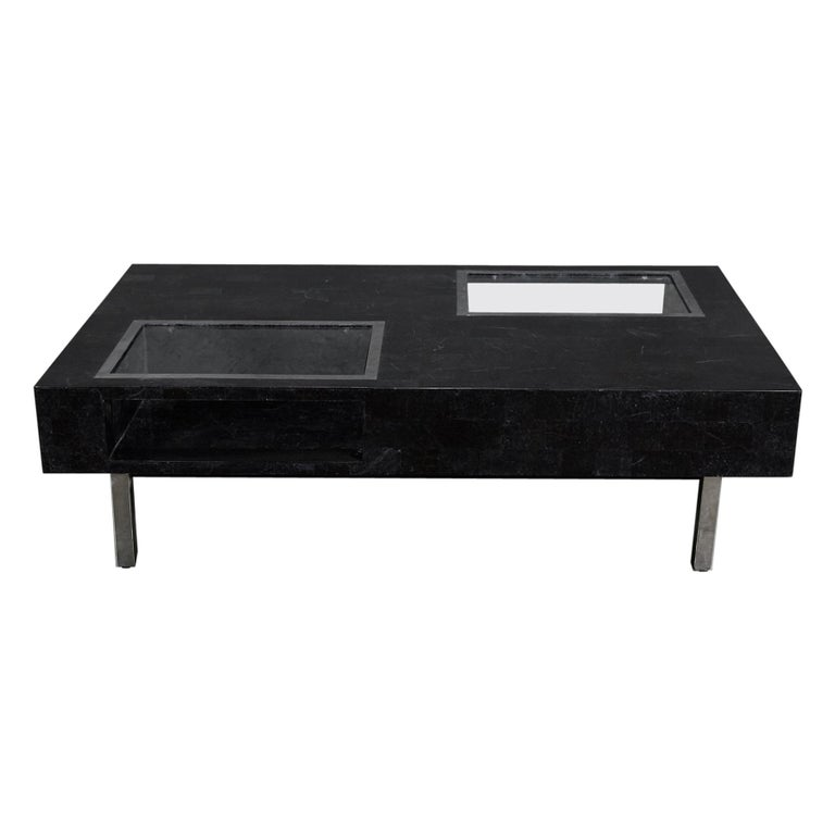 "Black Glass Coffee Table Sale: Black Tessellated Stone ""Sommerset"" Coffee Table With"