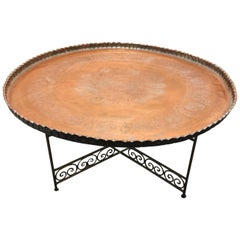 Large Persian Qajar Copper Tray Table