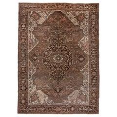 Brown Antique Heriz Serapi Carpet, Pink Tones