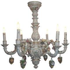 German Porcelain Six-Light Floral Decorated Chandelier