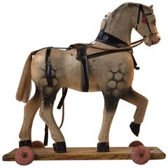 Unique Old German Wooden Pull Along Horse, 1930s